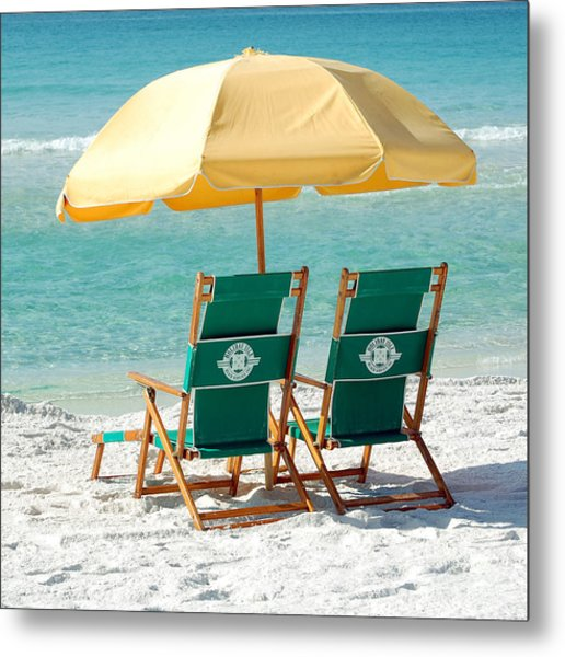 Destin Florida Beach Chairs And Yellow Umbrella Square Format Metal Print