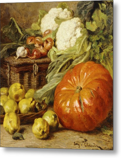 Detail Of A Still Life With A Basket, Pears, Onions, Cauliflowers, Cabbages, Garlic And A Pumpkin Metal Print