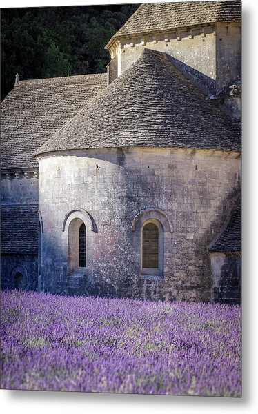 Detail Of Abbaye Senanque, Church In Provence, Southern France, Surrounded By Lavender Metal Print