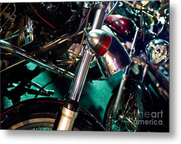 Detail Of Chrome Headlamp On Vintage Style Motorcycle Metal Print