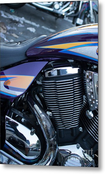 Detail Of Shiny Chrome Cylinder And Engine On Cruiser Motorcycle Metal Print