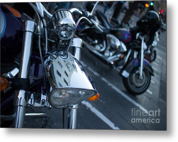 Detail Of Shiny Chrome Headlight On Cruiser Style Motorcycle Metal Print