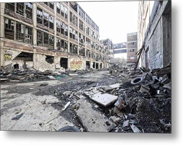 Detroit Abandoned Buildings Metal Print by Joe Gee