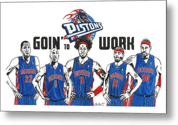 Detroit Goin' To Work Pistons Metal Print