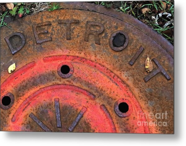 Detroit Manhole Cover Spray Painter Red Metal Print