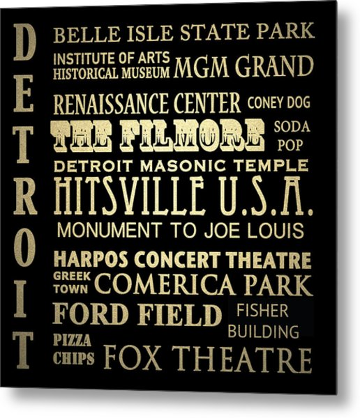Detroit Michigan Famous Landmarks Metal Print