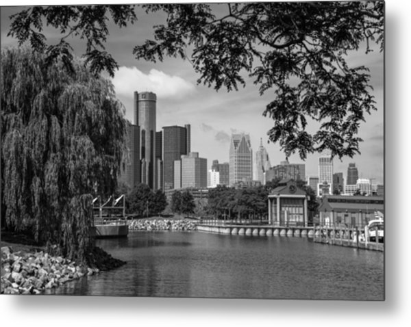 Detroit Skyline And Marina Black And White  Metal Print