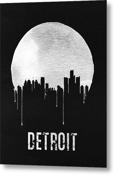 Detroit Skyline Black Metal Print