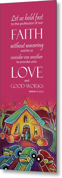 Metal Print featuring the painting Devotional Art Banner - Scripture From Hebrews by Jan Oliver-Schultz