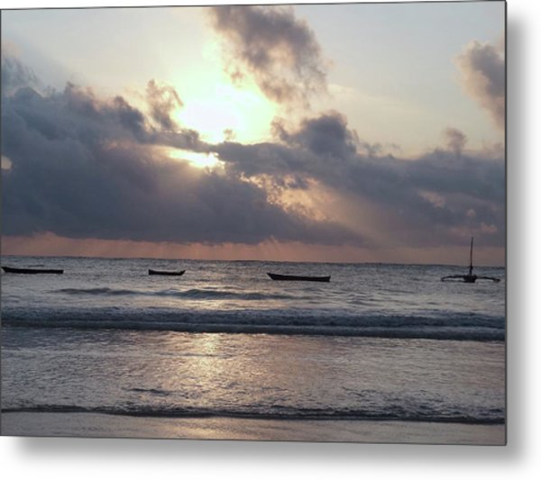 Dhow Wooden Boats At Sunrise 1 Metal Print