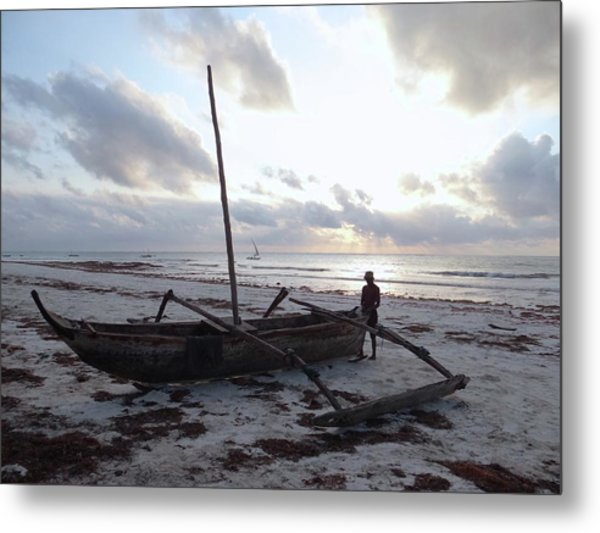 Dhow Wooden Boats At Sunrise With Fisherman Metal Print