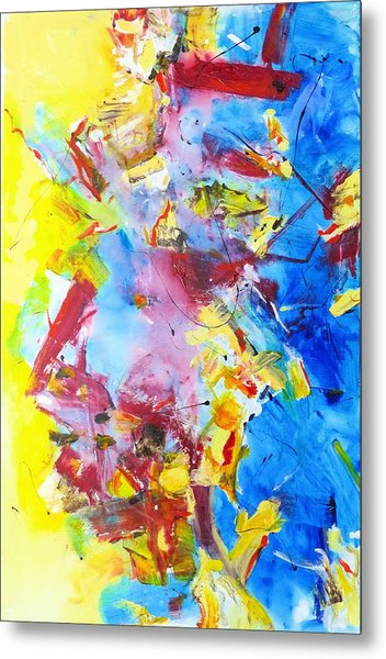 Dialogue In Yellow And Blue Metal Print