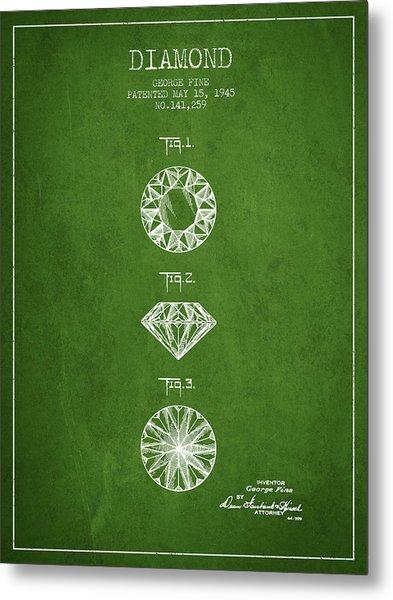 Diamond Patent From 1945 - Green Metal Print