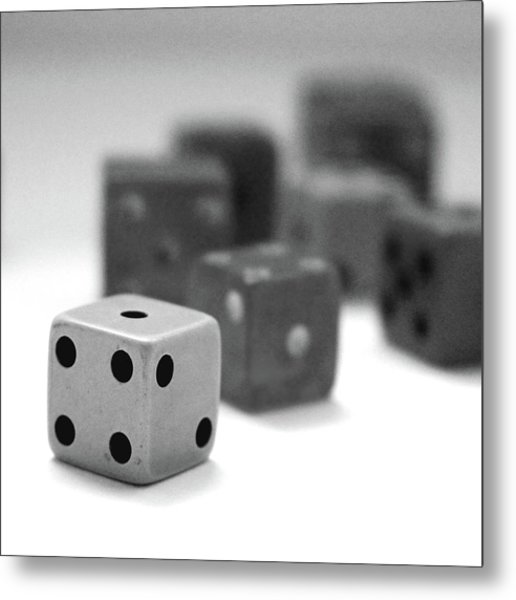 Dice 1- Black And White Photo By Linda Woods Metal Print