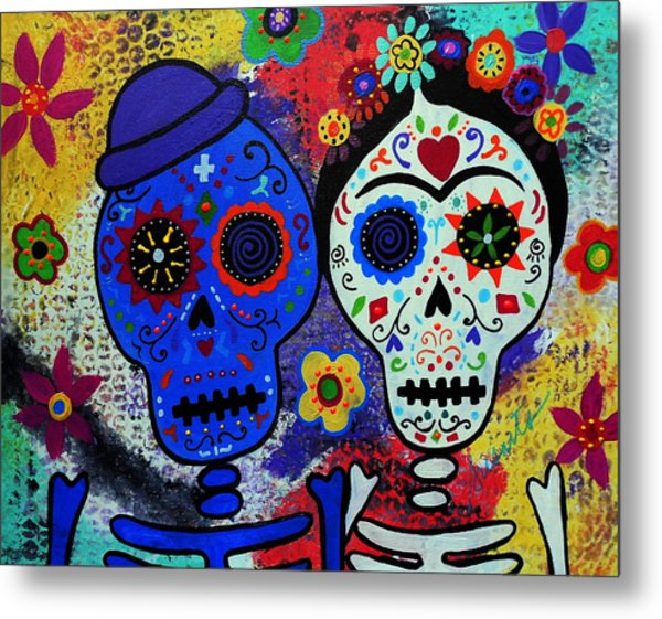 Diego Rivera And Frida Kahlo Dia De Los Muertos Metal Print