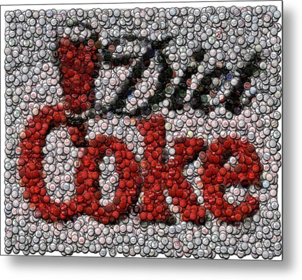 Diet Coke Bottle Cap Mosaic Metal Print