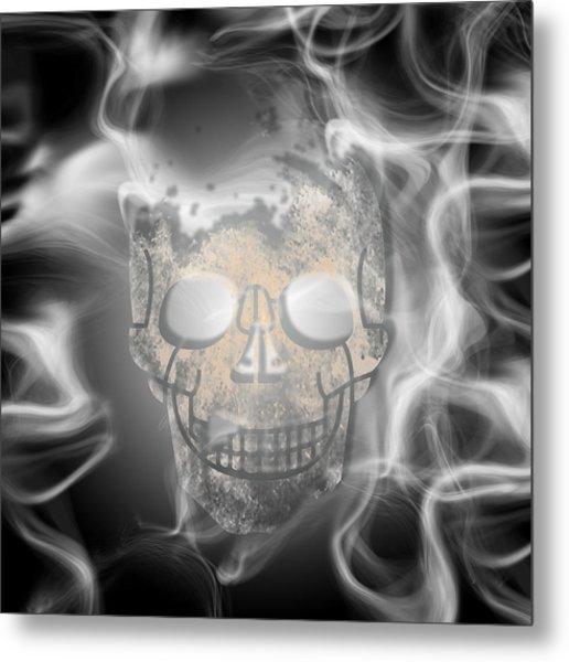 Digital-art Smoke And Skull Metal Print