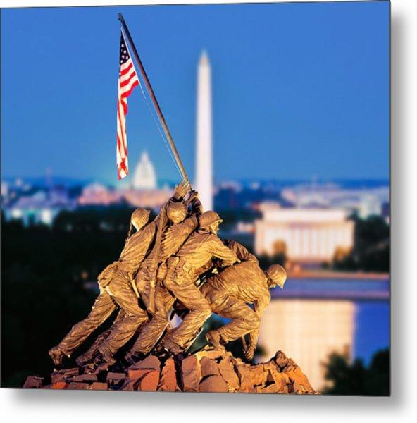 Digital Composite, Iwo Jima Memorial Metal Print