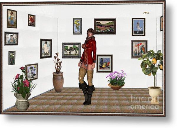 digital exhibition 32  posing  Girl 31  Metal Print