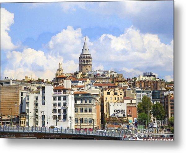 Digital Manipulation Of Galata Tower ,istanbul,turkey. Metal Print