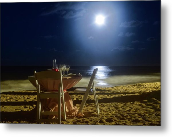 Dinner For Two In The Moonlight Metal Print