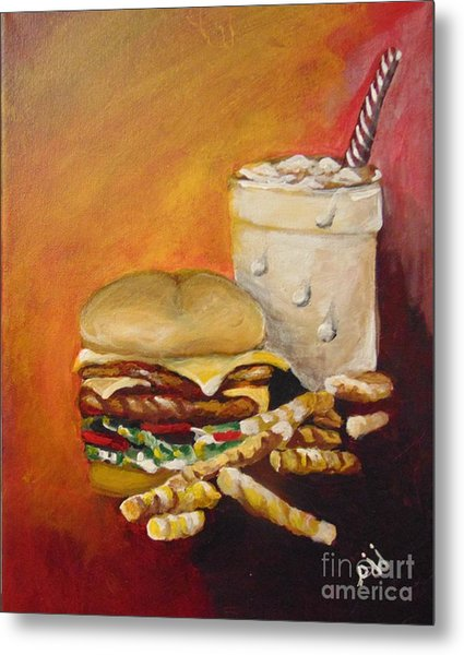 Metal Print featuring the painting Dinner Time by Saundra Johnson