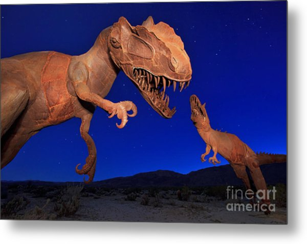 Metal Print featuring the photograph Dinosaur Battle In Jurassic Park by Sam Antonio Photography