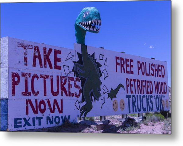 Dinosaur Sign Take Pictures Now Metal Print