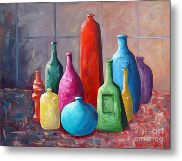 Metal Print featuring the painting Display Bottles by Phyllis Howard