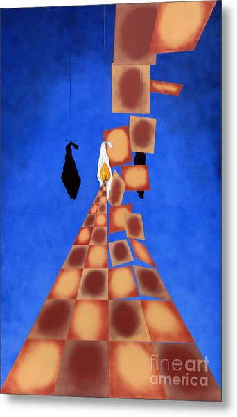 Disrupted Egg Path On Blue Metal Print