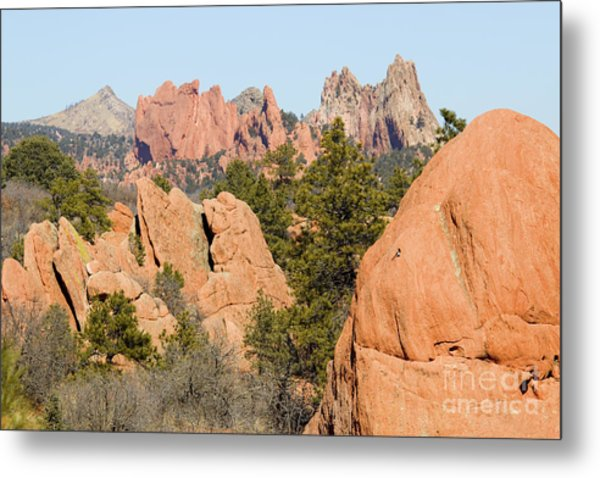 Distant Garden Of The Gods From Red Rock Canyon Metal Print