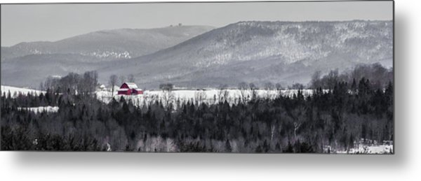 Distant Red Barn Metal Print