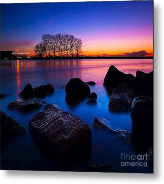 Distant Shores At Night Metal Print