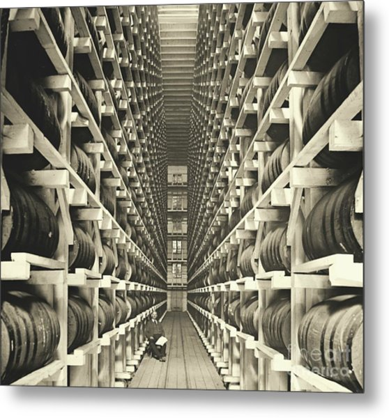Distillery Barrel Racks 1905 Metal Print