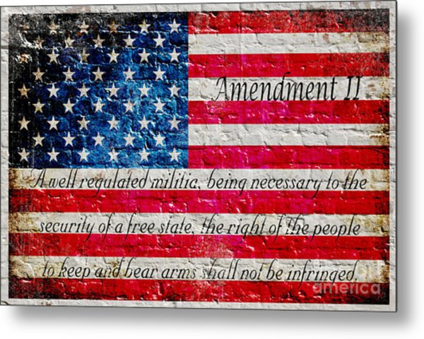 Distressed American Flag And Second Amendment On White Bricks Wall Metal Print