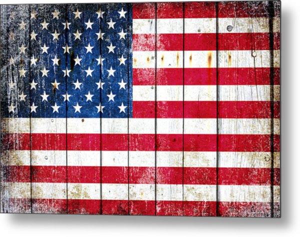 Distressed American Flag On Wood Planks - Horizontal Metal Print