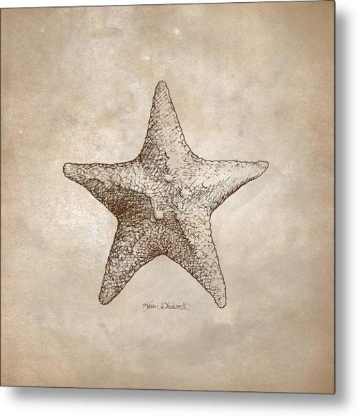 Distressed Antique Nautical Starfish Metal Print