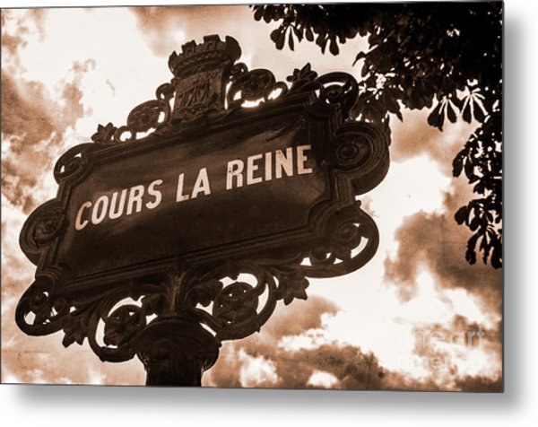 Distressed Parisian Street Sign Metal Print
