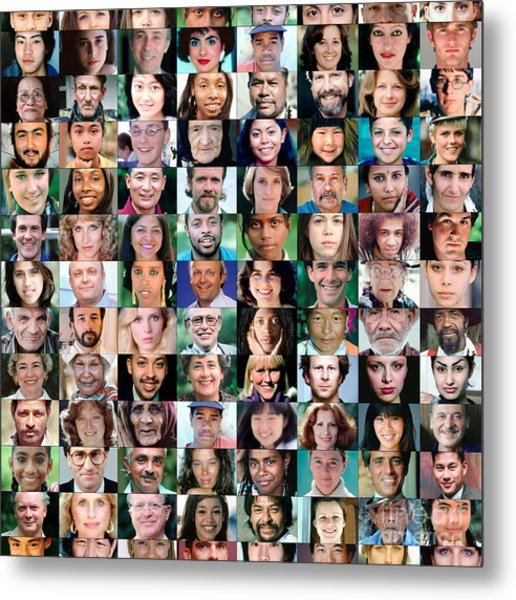 Diversity Faces Mosaic Metal Print