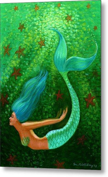 Diving Mermaid Fantasy Art Metal Print