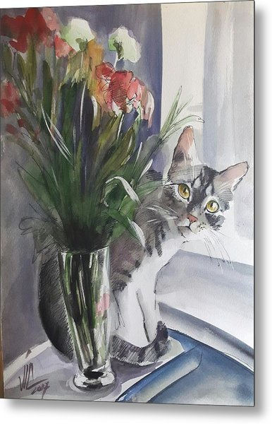 Do You See Me? Pet Portrait In Watercolor .modern Cat Art With Flowers  Metal Print