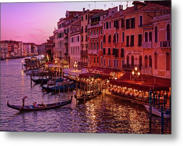 A Cityscape With Vintage Buildings And Gondola - From The Rialto In Venice, Italy Metal Print