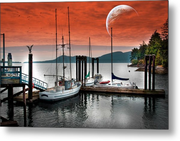 Dock And The Moon Metal Print