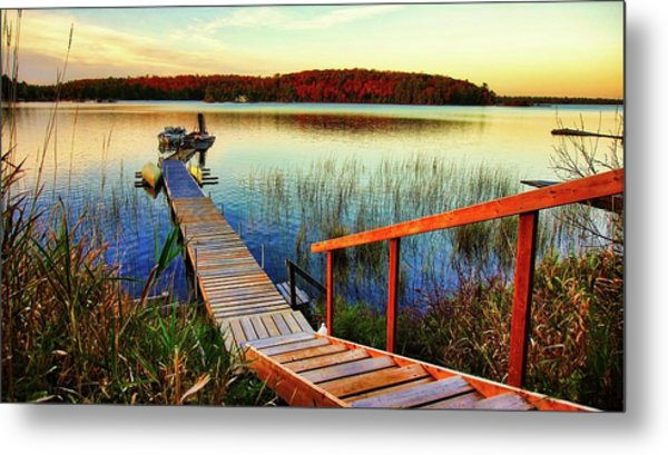 Dock At Gawas Bay Metal Print