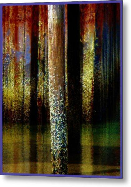 Dock At Low Tide Metal Print