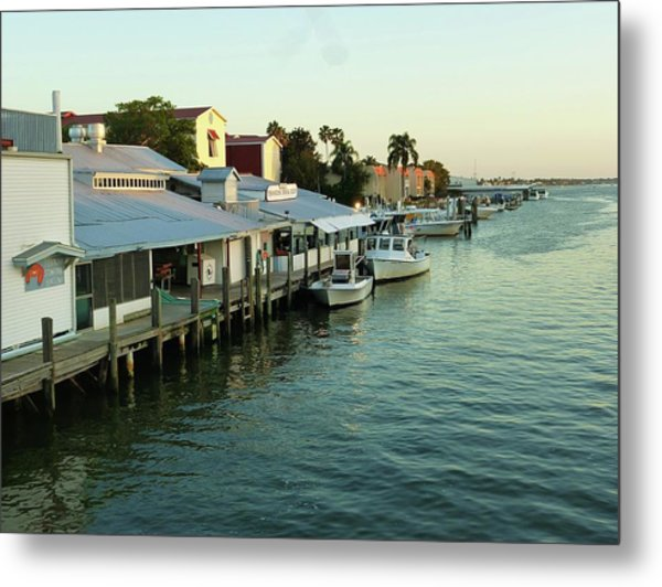 Docked At Tin City Metal Print