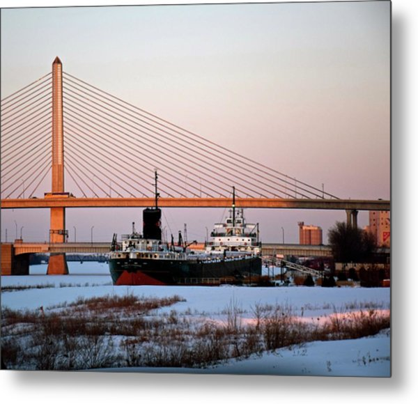 Docked Under The Glass City Skyway  Metal Print