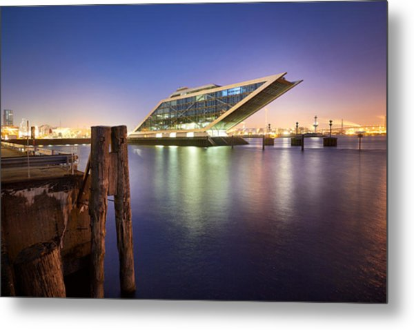 Metal Print featuring the photograph Dockland At Night by Marc Huebner