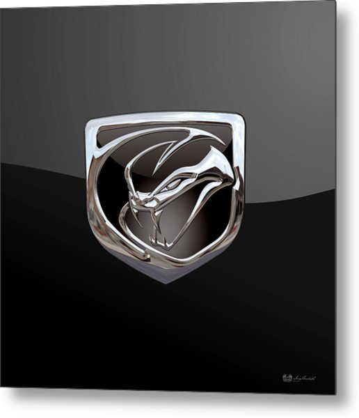 Dodge Viper - 3d Badge On Black Metal Print