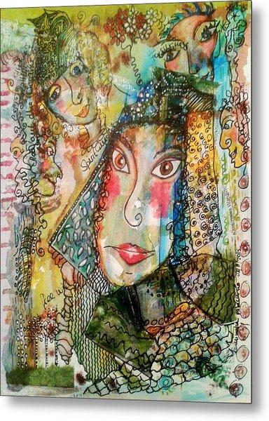Doe Eyed Girl And Her Spirit Guides Metal Print